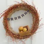 Burlap Harvest Wreath with Mini Chalkboard Bunting