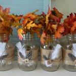 DIY Feather & Burlap Wrapped Mason Jars