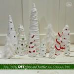 DIY Yarn and Feather Mini Christmas Trees