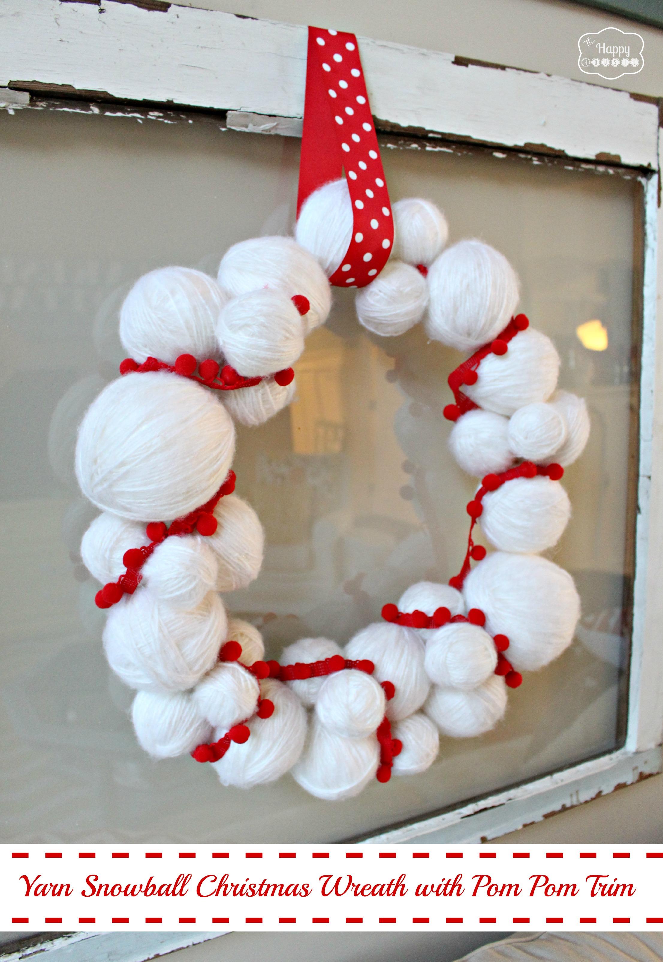 yarn snowball christmas wreath and nine other awesome wreath ideas