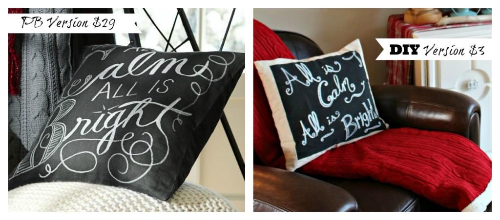 DIY chalkboard pillow comparison