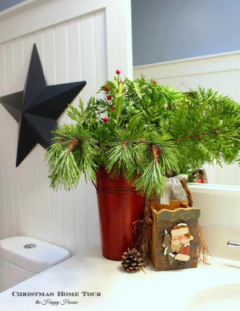 The Happy Housie Christmas Home Tour bathroom christmass decor