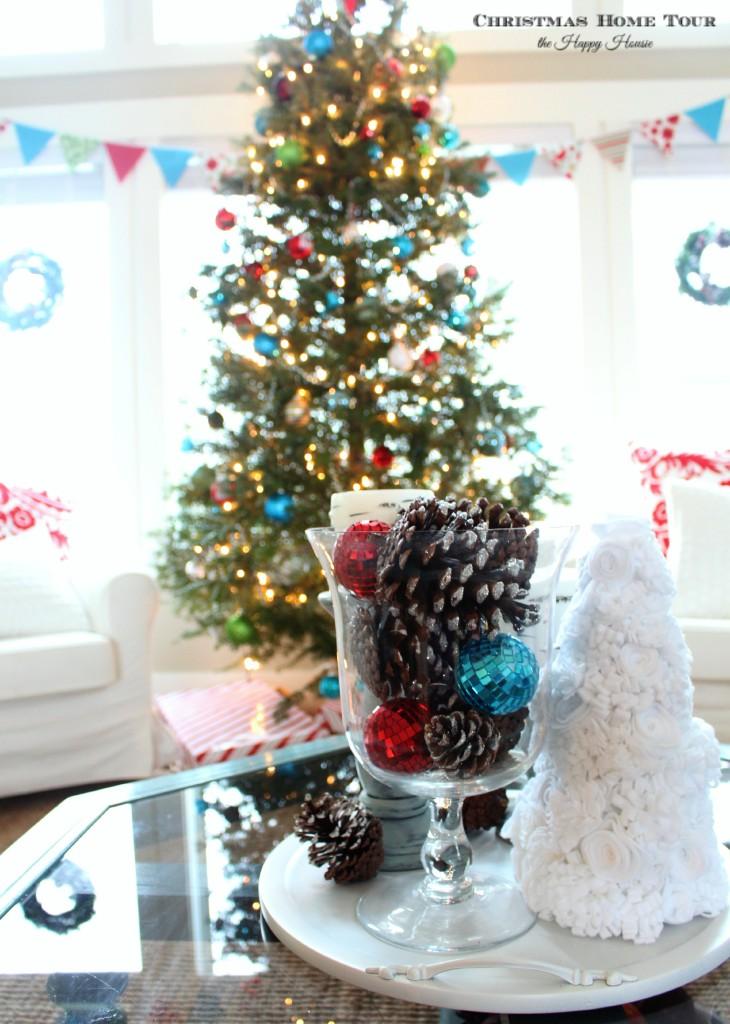 The Happy Housie Christmas Home Tour felt mini tree and big tree in living room