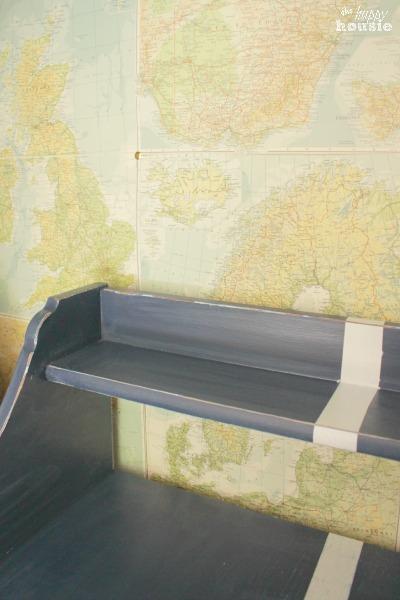 DIY Faux Map Wallpaper in the closet.