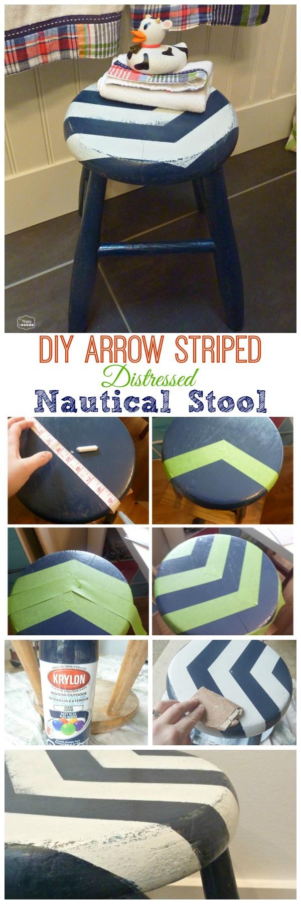 DIY Arrow Striped Distressed Nautical Stool for our Boys Nautical Theme Bathroom graphic.