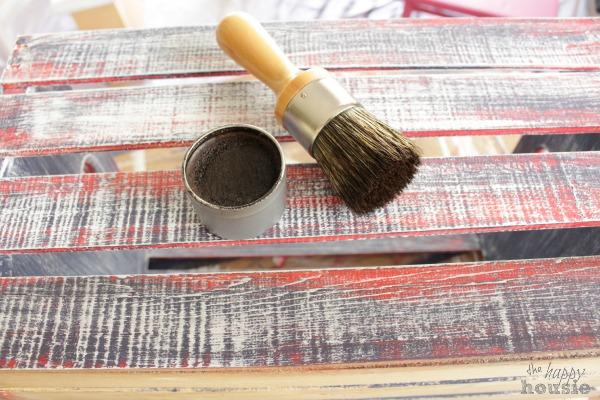 Red White & Blue Chalk Painted Book Storage Crate at The Happy Housie dark wax