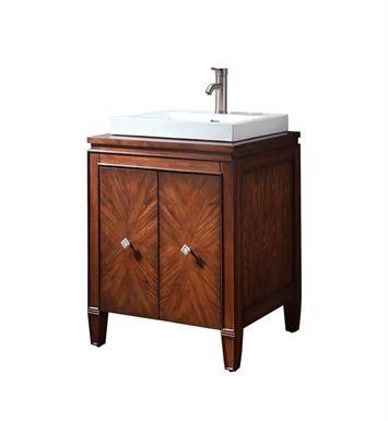 A wooden bathroom vanity.