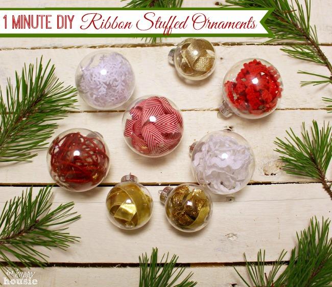 One Minute Ribbon Stuffed DIY Christmas Ornaments {& Trim ...
