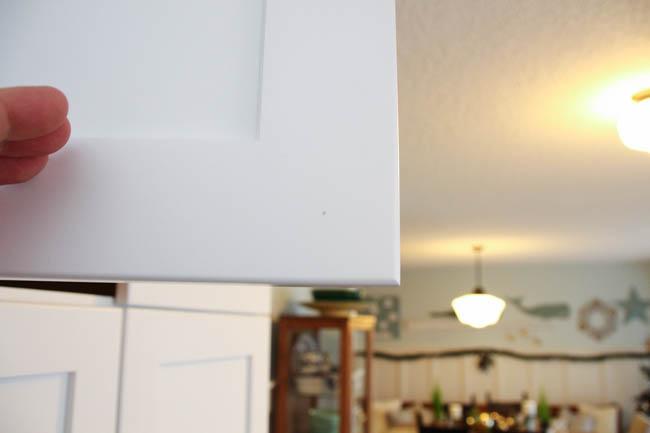 A white cabinet door.