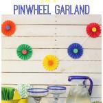 Simple & Festive DIY Pinwheel Garland at thehappyhousie.com