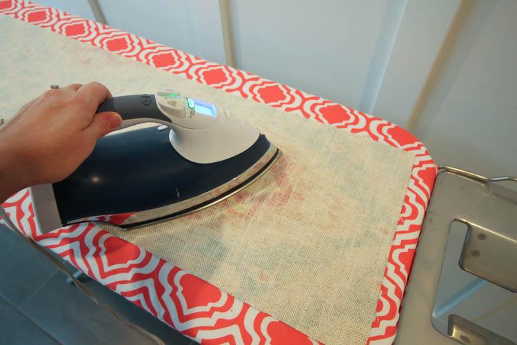 Ironing the fabric.