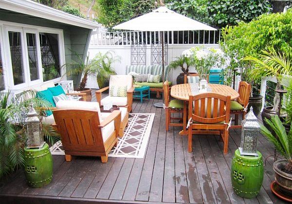 A colourful wooden terrace deck.