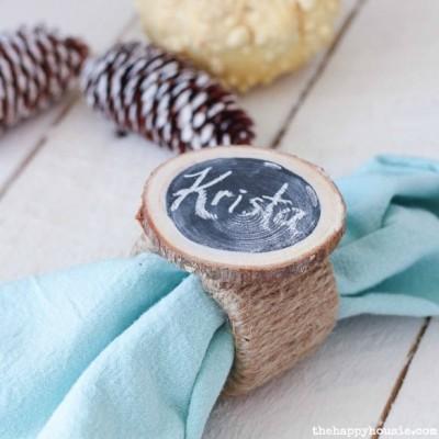 DIY Chalkboard Wood Slice Napkin Ring Place Cards {& Thanksgiving Hop}