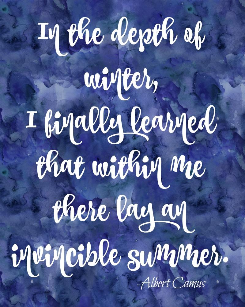 In the Depth of Winter Quote in dark blue 8x10