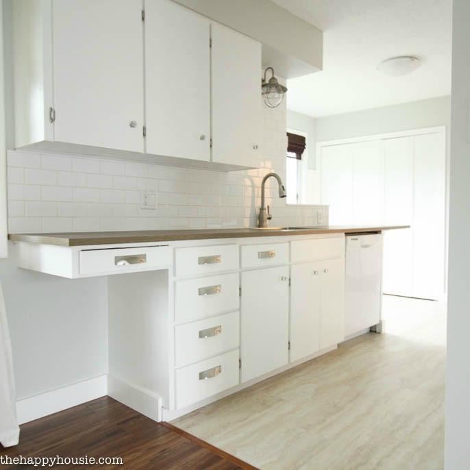 Super Thrifty Budget White Kitchen Makeover Reveal