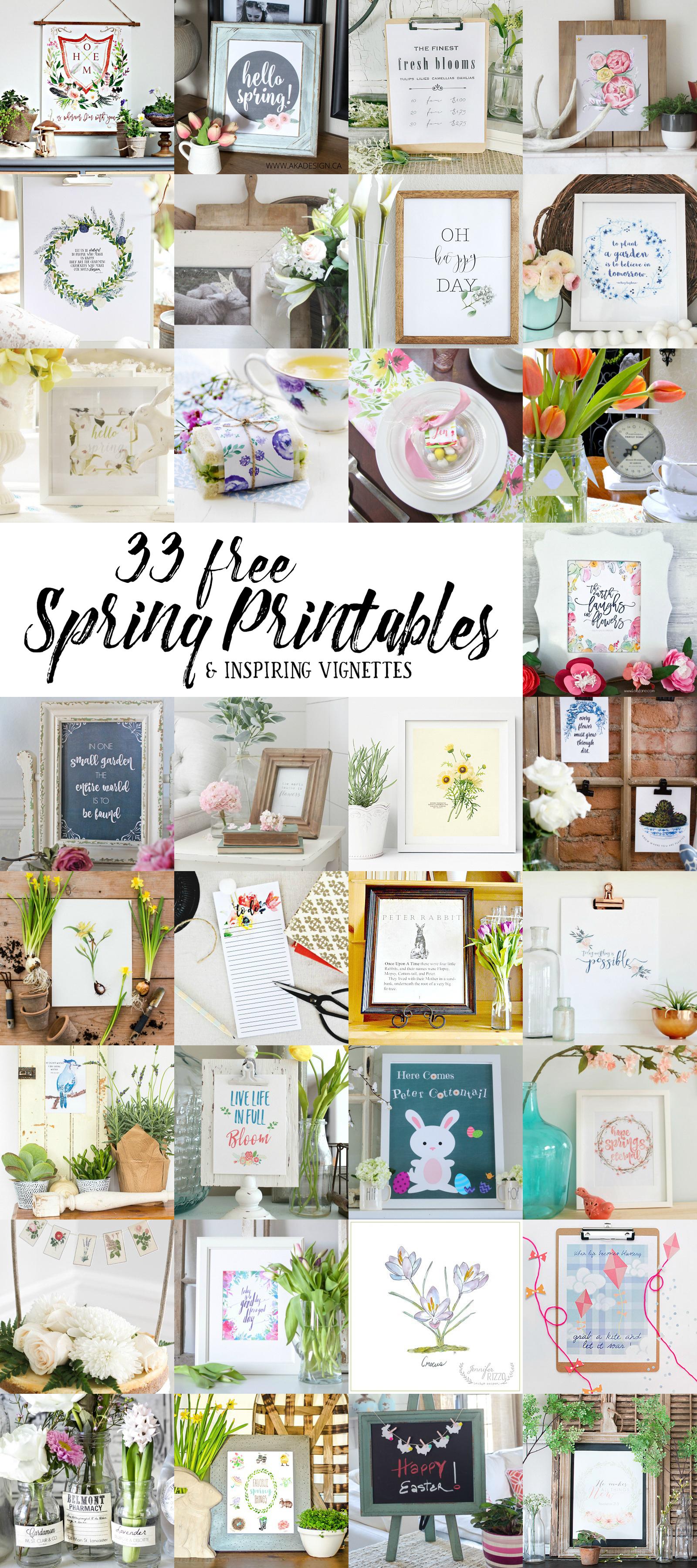 33 free spring printables poster.