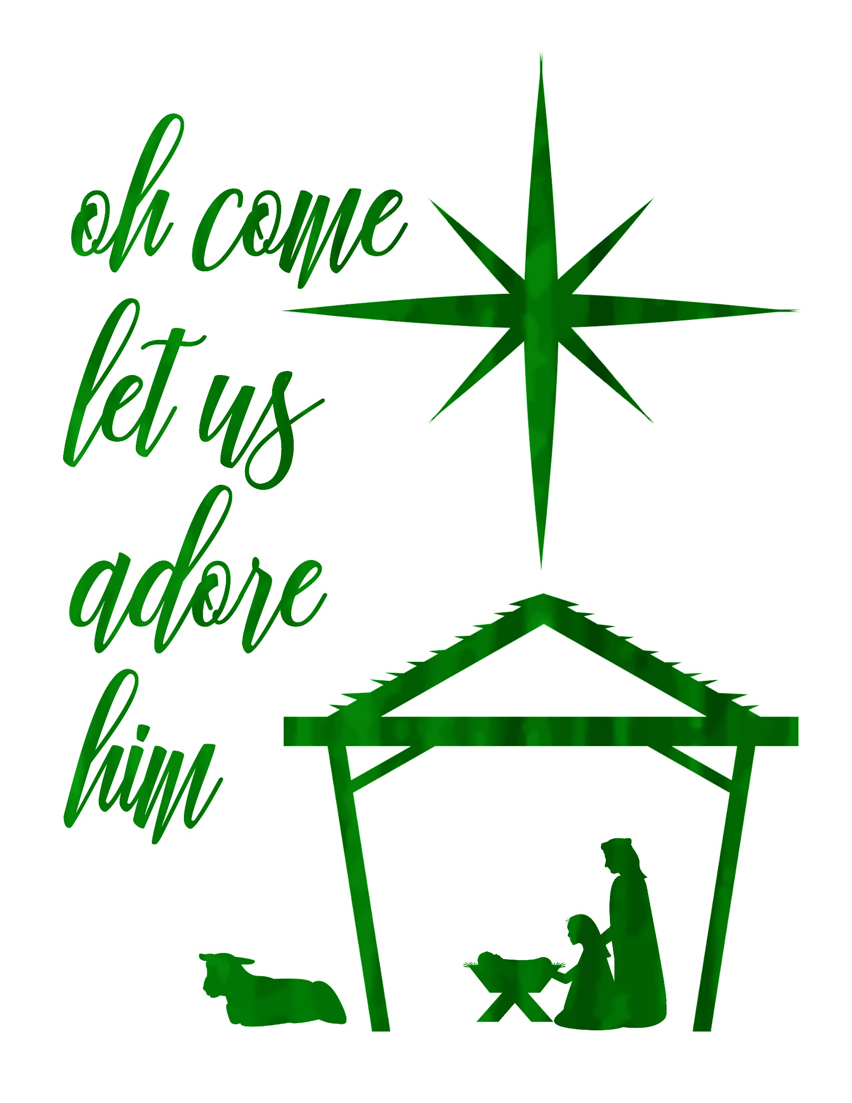 photograph regarding Nativity Clipart Free Printable identified as Oh Appear Permit Us Enjoy Him Totally free Xmas Nativity Printable