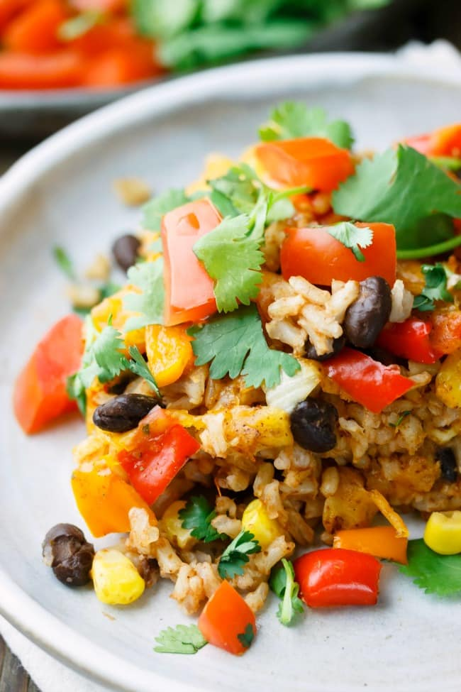 A bean, rice and tomatoe bake.