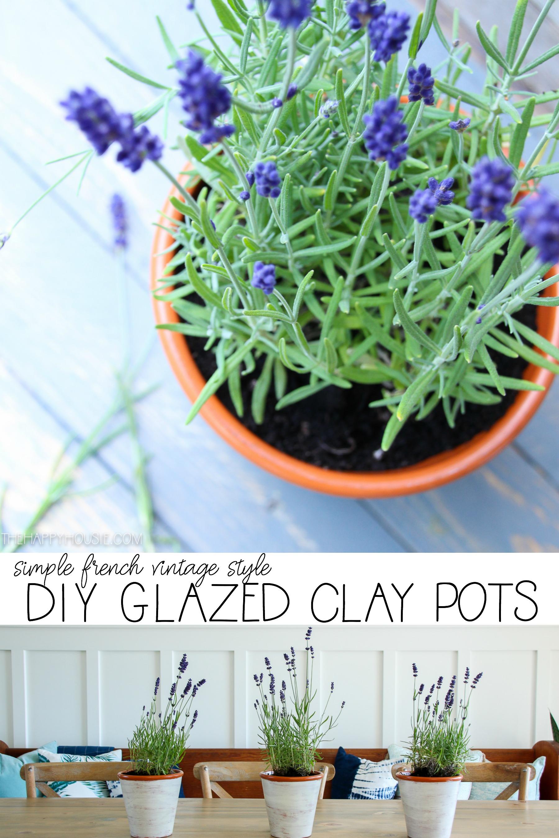 DIY Glazed Clay Pots graphic.