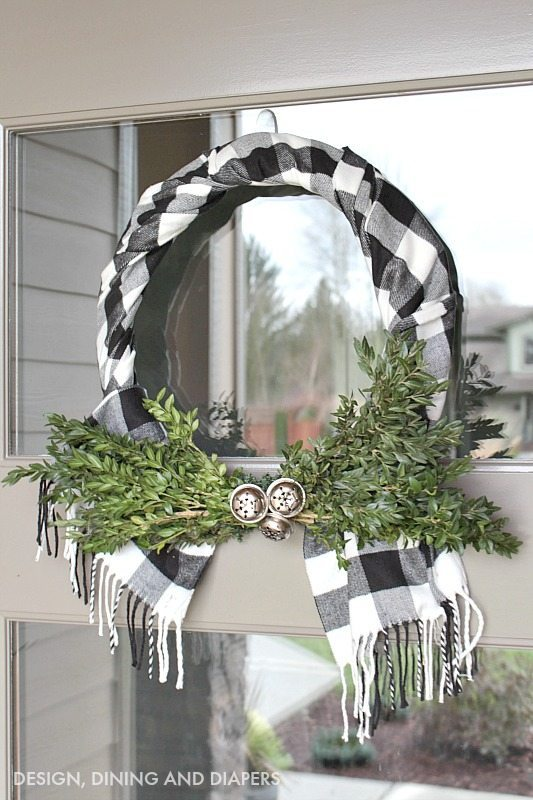 Buffalo checked scarf made into a holiday wreath.