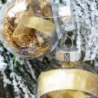 DIY Stuffed Clear Plastic Christmas Ornaments