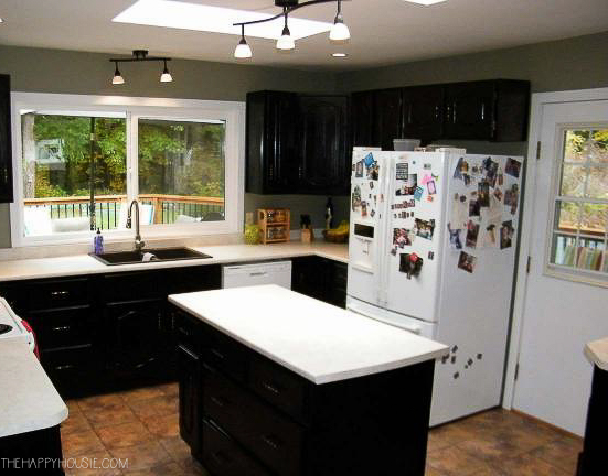 The dark kitchen before renovation.