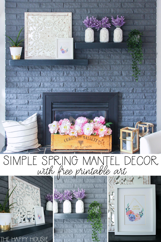 Simple Spring Mantel Decor poster.