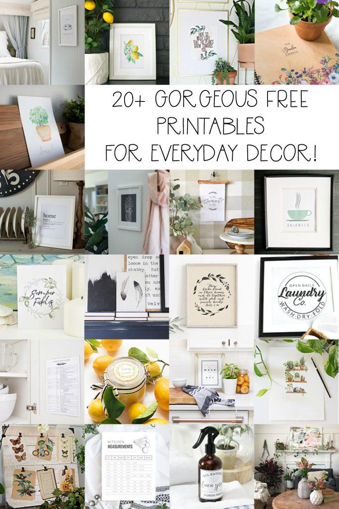 20 Gorgeous free printables for everyday decor poster.