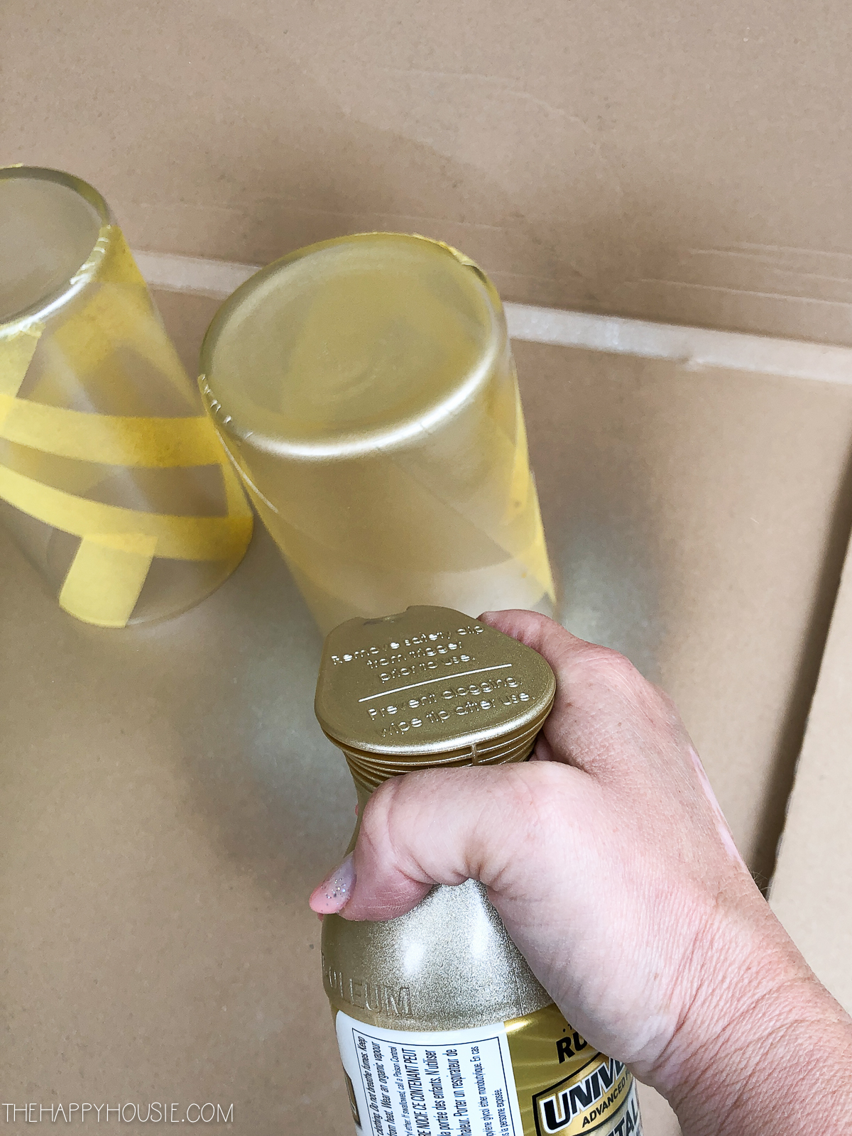 Diy Modern Geometric Vases With Rust Oleum Universal Metallic Spray Paint The Happy Housie
