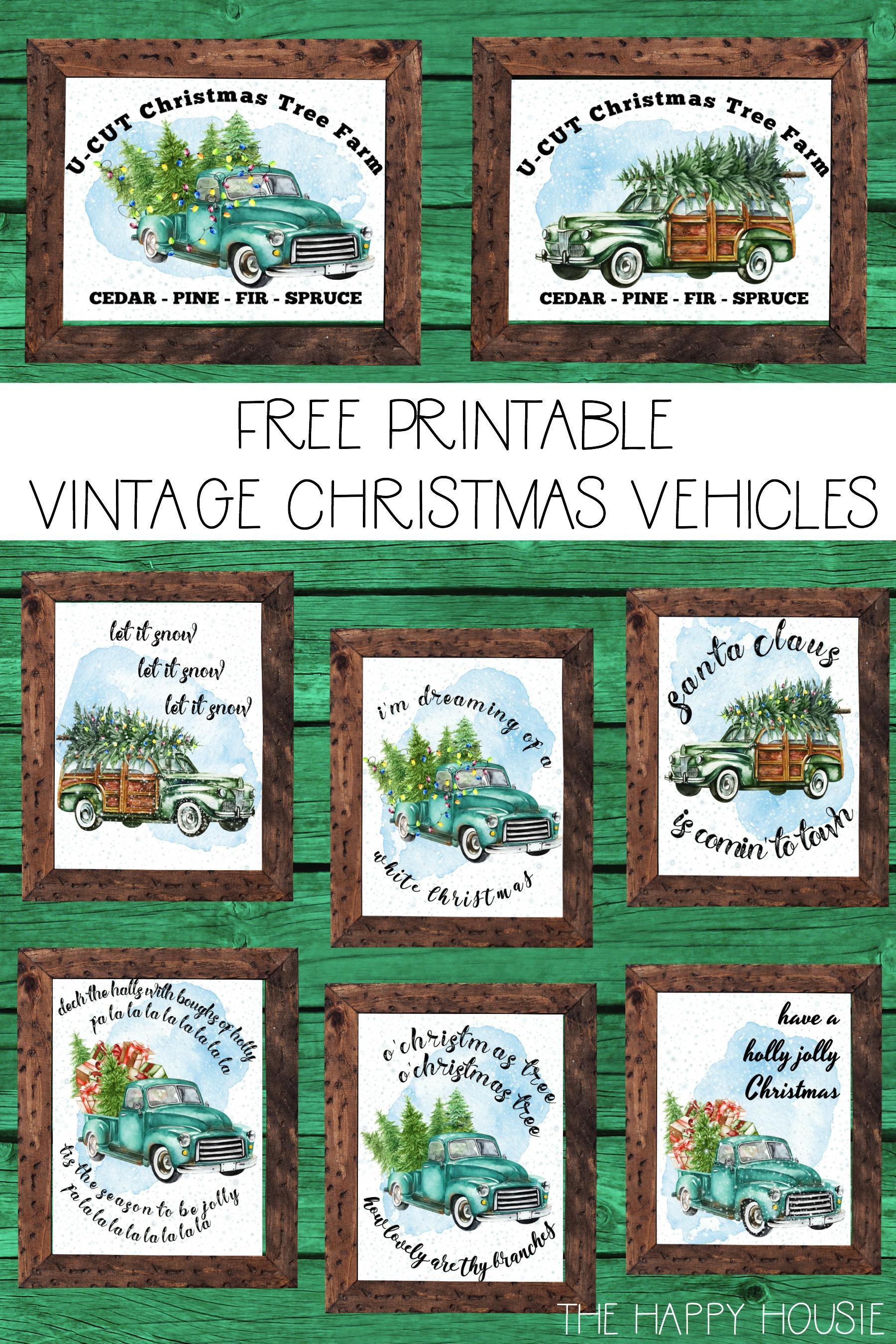 Free Printable Vintage Christmas Trucks The Happy Housie