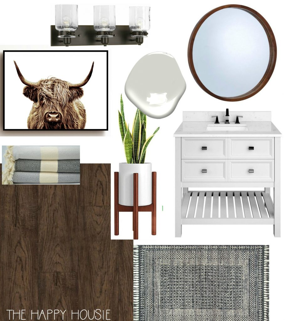 Modern Boho Farmhouse Bathroom Makeover Before & Design Board ...